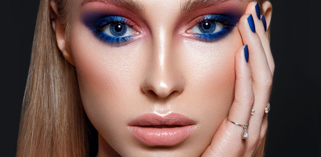 cosmetic product testing - woman with makeup